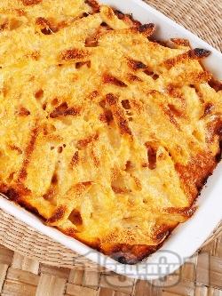 Пастичио - гръцки макарони с кайма, бекон, пармезан, гауда и сос болонезе - снимка на рецептата